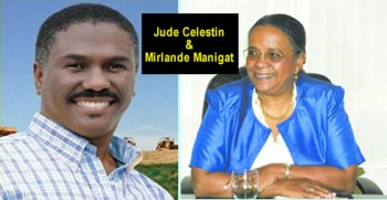 A Picture of Candidates Jude Celestin and Mirlande Manigat